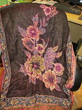 Lovely soft scarf/wrap from India, beautiful black/multi floral pattern