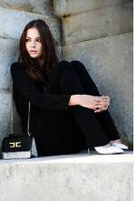 ELISABETTA FRANCHI Celyn b Pantaloni Donna 4O-42 NERO WOMEN Black PANT Trousers