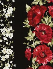 Timeless Treasures Audrey Flowers Border Stripe 100% cotton fabric by the yard