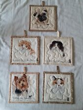 Set of 5 Handcrafted Machine Stitched and quilted Decorative Potholders