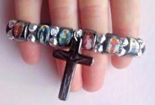 Mexican Artisan  Holy Religious Saints Jesus  Bracelet Cross Frida Kahlo