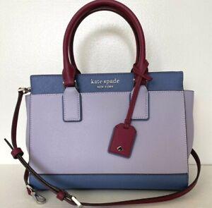 New Kate Spade New York Cameron medium Satchel Leather Lilac multi