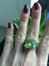"NEW ""designer inspired"" Lime Green CZ Ring w Cable & Pave Detail size 8 Gorgeous"