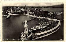 Lindau Bayern Schwaben AK ~1940 Hafeneinfahrt Hafen Denkmal Bodensee Schiffe