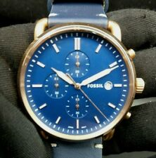 New Old Stock - Fossil COMMUTER FS5404 - Navy Dial Navy Leather Men Watch