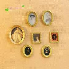 1/12 Doll house Miniature painting 19th frame fresco picture photo 7 pieces