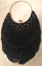 Lapis Black Vintage Style Beaded Fringe Flapper Bag/Purse