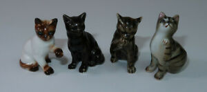 "Vintage 4 Small Ceramic Cat Figurines 2 Tabby 1 Black Cat 1 Siamese 1.5"" Tall"