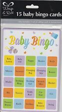 15 BABY SHOWER PARTY BINGO GAME UNISEX BOY GIRL 15 PLAYERS SHEETS PARTY FUN