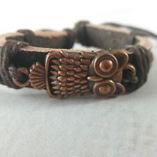 NEW Unisex Leather Adjustable Cuff Copper Owl Charm