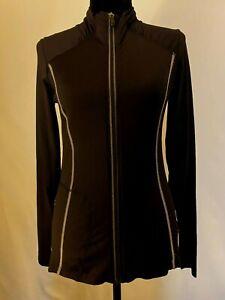 LOLË Black Activewear LS Black Sz S Knit Athleisure Full Zip Shirt 1 zip pocket