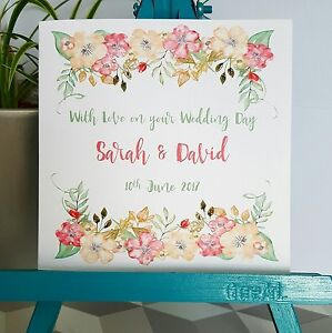 PERSONALISED Handmade Wedding Day Floral Watercolour Print Card