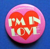 Hallmark BUTTON PIN Valentines Vintage HEART I'm In Love MINI Hoilday Pinback 76