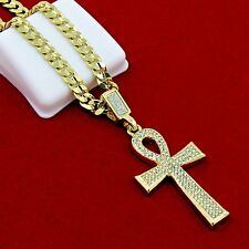 Men's Gold Plated Egyptian Cz Ankh Hip-Hop Pendant 24