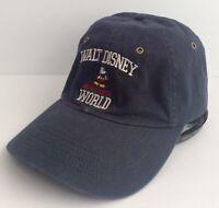 Vintage Walt Disney World Mickey Mouse Strapback Cap Hat 90s Adult Size Navy