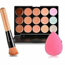 Palette de 15Colours Contour maquillage correcteur, poudre brosse + éponge rose