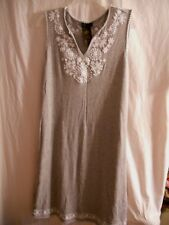 Grace Elements Gray Sleeveless Dress V neck Size Small S White Accent Bling