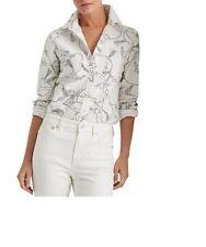 New listing Ralph Lauren Equestrian Print Shirt Blouse Size 2X White Button Front Cotton