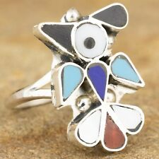 Native American Sterling Silver Zuni Bird Inlay Ring Size 8.5 Signed PY
