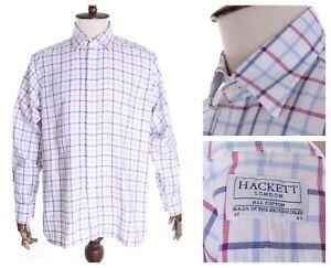 Men's HACKETT LONDON White Check Oxford Cotton LS Shirt Size 43 / 17