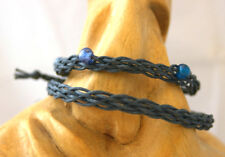 Pair of grey braided cotton bracelets one with blue beads, couples friends gift