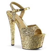 Pleaser SKY-310LG Women's Sexy Gold Glitter High Heels Platform Strap Sandals