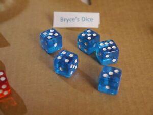 NEW 5 Transparent Blue White Pip RPG Bunco Gaming Dice Set 16mm D6 Home Casino