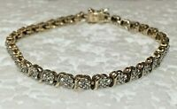 Solid Sterling Silver Love TENNIS BRACELET 7.5 in Link 925 golden tone
