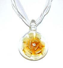 """MN416L Yellow Flower Clear Round Lampwork Glass Pendant 17"""" Ribbon Cord Necklace"""