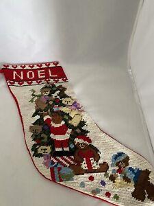 Christmas Stocking Teddy Bears Christmas Tree Needlepoint Red Velvet  1