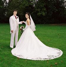Brodé blanc/ivoire satin robe de mariée robe de mariage Taille UK 6/petite Set