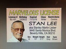 fun Stan Lee of Marvel Comic Books fame  fake ID i.d. card Drivers License