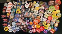 (140) ASSORTED SIZED METAL PINBACK BUTTONS: MOVIES, SPORTS, MEDIA,