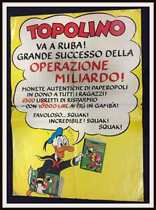 ⭐ Locandina per edicole Operazione Miliardo Topolino Disney 1970- DISNEYANA.IT ⭐