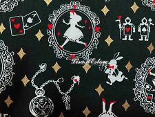 Alice in Wonderland, black, gold metallic, 1/2 yard, pure cotton fabric