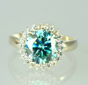 Round Cut 5.28 Ct Blue Diamond Solitaire With Accents Ring Classic Collection