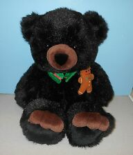 "28"" JcPenney JC Penney Holiday Christmas Black Teddy Plush w/ Gingerbread Man"