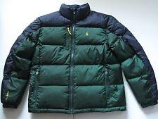 POLO RALPH LAUREN Men's Green/Navy Colorblocked Quilted Down Puffer Coat L