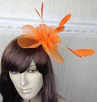 orange netting feather hair headband fascinator millinery wedding hat ascot race