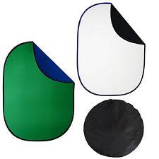 Kit 2x Fondale Background Pieghevole Bianco/Nero + Blu/Verde Chromakey 150x200cm