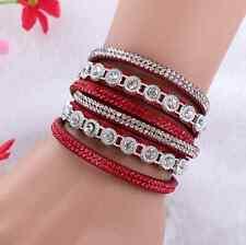 Women's Bling Crystal Rhinestone Leather Bracelet Multilayer Bracelet Bangle CA