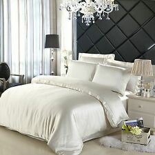 100% Authentic SILK Double Duvet &2 Pillow Covers Ivory/Pearl Soft Bed Cover Set