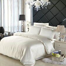 100% Auténtico Seda Doble Duvet & 2 fundas de almohada Marfil/Pearl de cubierta de cama suave