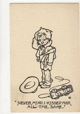 Never Mind I Kissed Her All The Same Vintage Comic Children Postcard 384a