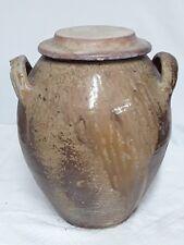 ANCIEN GRAND SALOIR   ET COUVERCLE EN GRÈS  DE PUISAYE : HAUTEUR  37 cm