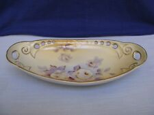Antique European Oval Handled Yellow Serving Dish Reticulated HP White Rose Gold