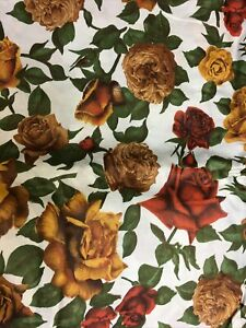 """Bates Fabric Red Yellow Brown Roses Vintage MCM Mid Century 1950 bty 44"""" Wide"""