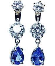 Vintage 1.6ct Diamond Sapphire Earrings Jackets 14K White Gold Estate Jewelry