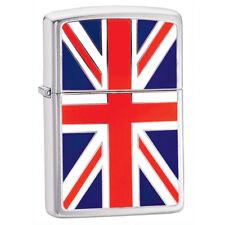 More details for zippo union jack windproof lighter chrome full face emblem lifetime guarantee