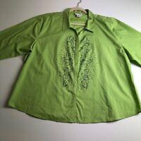 Las Olas Women's Long Sleeve Button Up Shirt 2X Plus Green Floral Sequin Bling
